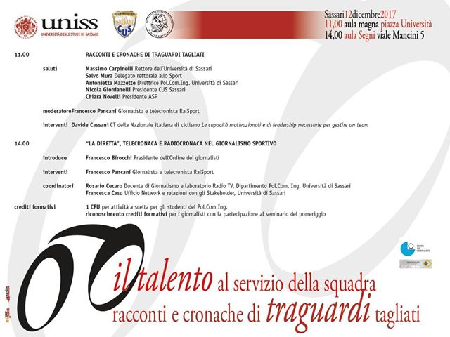 WORKSHOP ALL'UNIVERSITA' DI SASSARI CON DAVIDE CASSANI E FRANCESCO PANCANI