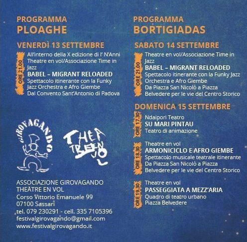 Programma Festival Girovagando, Ploaghe e Bortigiadas