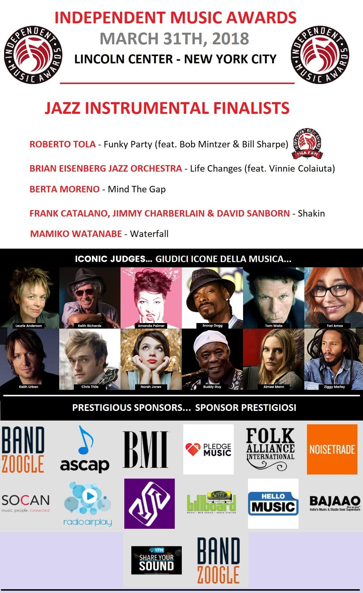 "ROBERTO TOLA  FINALISTA   AL ""THE INDEPENDENT MUSIC AWARDS"""