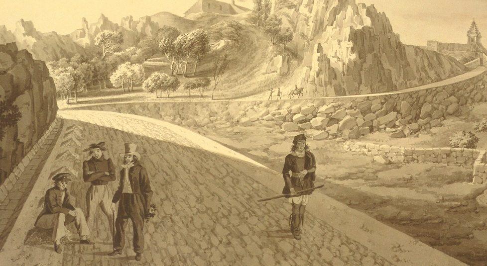 La strada reale intitolata a Carlo Felice - veduta di Cominotti e Marchesi