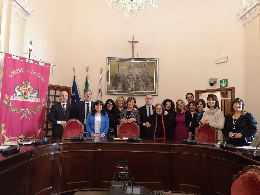Le 9 componenti della Commissione Pari Opportunità del Comune di Sassari