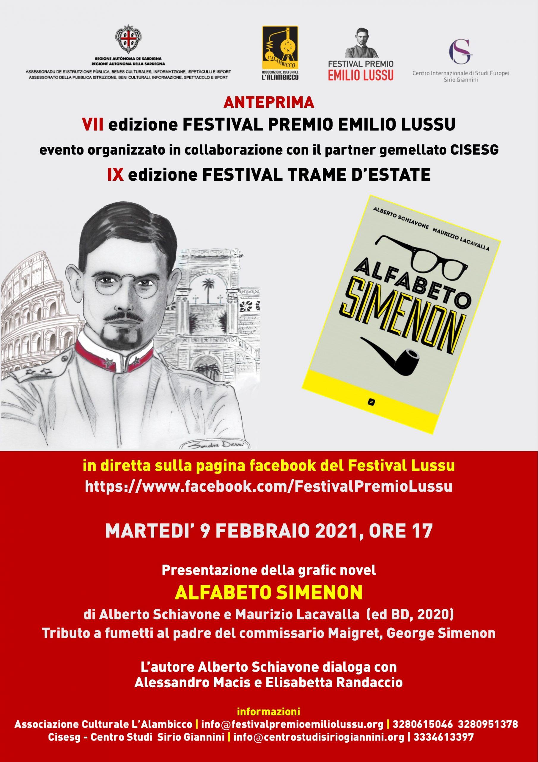 """All'anteprima del Festival Premio Emilio Lussu 2021, """"Alfabeto Simenon"""" di Alberto Schiavone"""