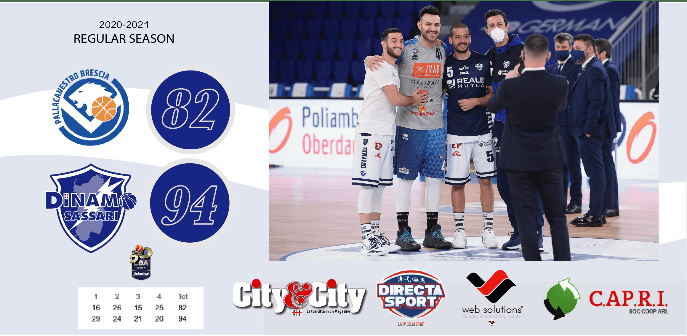Due punti a Brescia e la Dinamo ritrova il sorriso